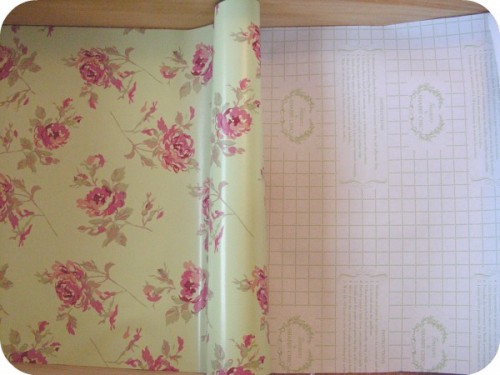 Lining a dresser drawer with shabby chic paper