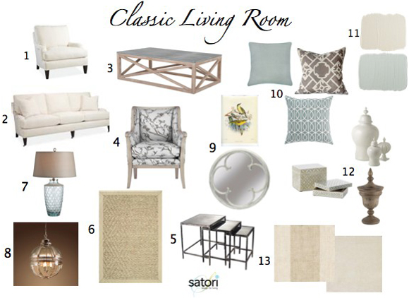 Blue & White Classic Living Room Interior Design Elements - Part of an E-design Package at Satori Design for Living