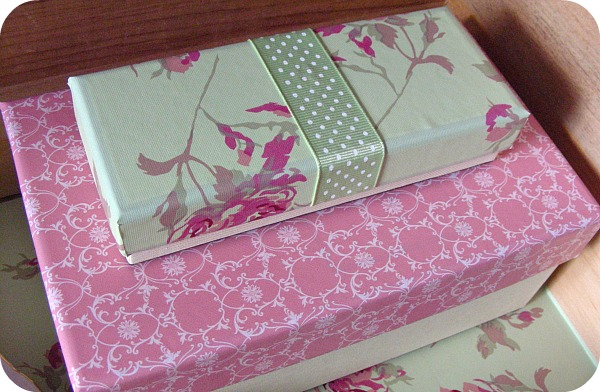 Shabby chic covered jewelry boxes