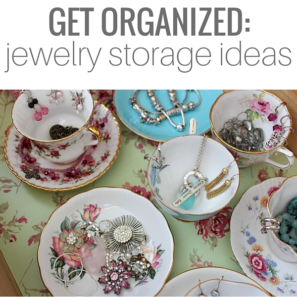 Beautiful and clever jewelry organization ideas, including the steps for putting together a handy drawer using tea cups and pretty storage boxes. More details at SatoriDesignforLiving.com