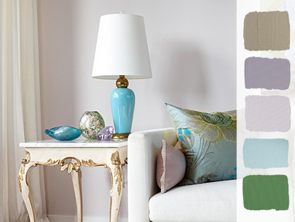 Sarah Richardson Design Calming Paint Palette with Soft Purples, Blue and Green