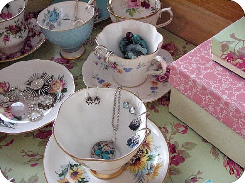 Jewelry Organization Ideas - Drawer with vintage teacups and saucers - Satori Design for Living