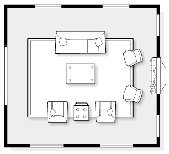 E-Design Space Plan for Classic Living Room | Satori Design for Living