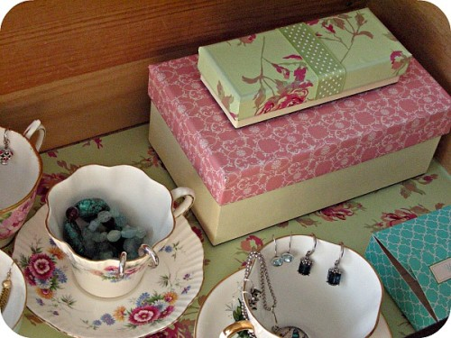 Jewelry Organization Ideas - Drawer with vintage teacups and saucers plus DIY covered storage boxes - Satori Design for Living