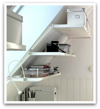 Angled wall shelving from Ikea