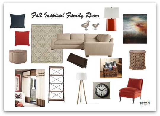 Deep Blue, Orange and Beige Family Room