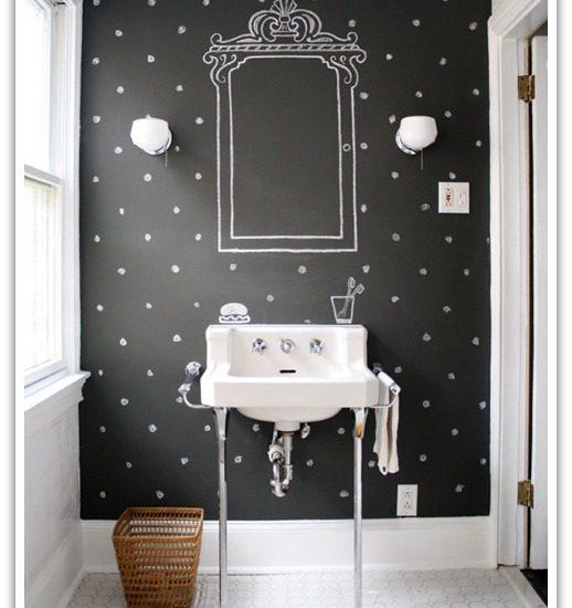 Rooms with Black Walls - Powder Room via Design Sponge