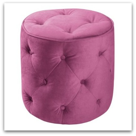 Curves Button Tufted Pink Stool via Design Milk