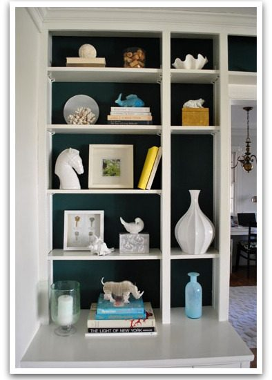 How to Style Your Bookcase - Back-painted bookcase by Young House Love