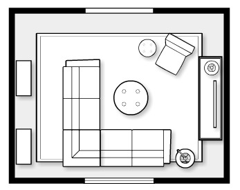 Fall Inspired Family Room- space plan by Satori Design for Living