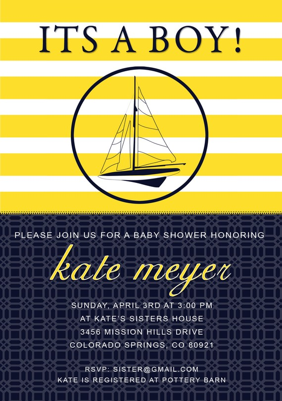 Nautical Kate Spade Inspired Invitation by Green Beansie Ink