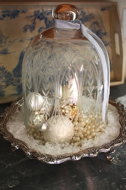 Cloche with Winter White Decor for the Holidays