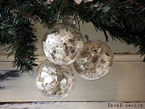 Sheet Music Ornaments via AKA Design