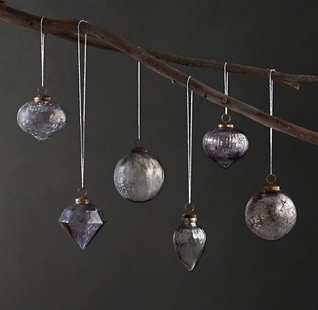 Mercury Glass Christmas Ornaments via Restoration Hardware