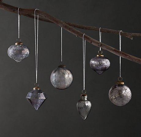 Mercury Glass Christmas Ornaments via Restoration Hardware