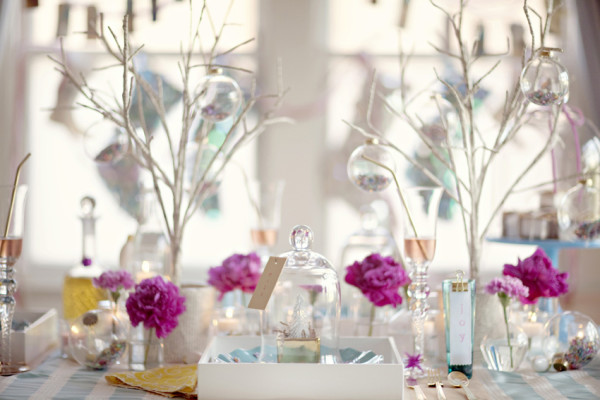 Modern Christmas Table with Glass Cloches and Branches
