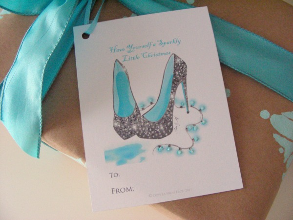 gift wrapping ideas | hand painted turquoise gift wrap with shoe tag