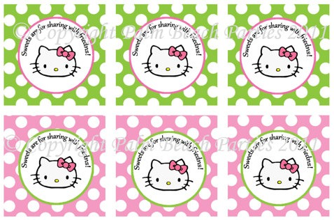 Pretty Kitty Favor Tags by Palm Beach Parties