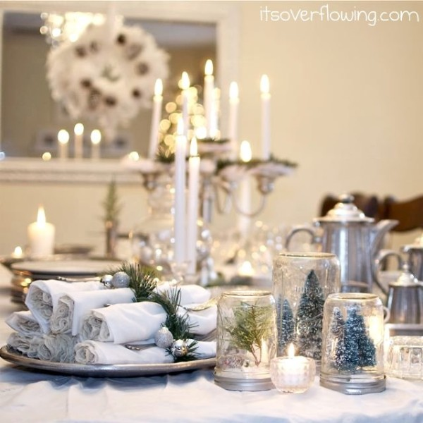 Silver and White Christmas Tablescape by It's Overflowing