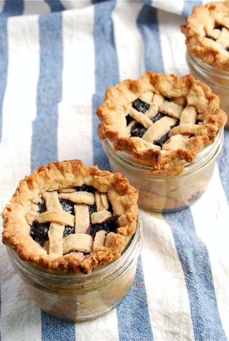 Blueberry Lattice Top Pies in a Jar