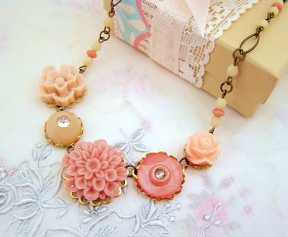 Valentine's Day Gift Ideas - Shabby Chic Necklace from Alyssabeths on Etsy