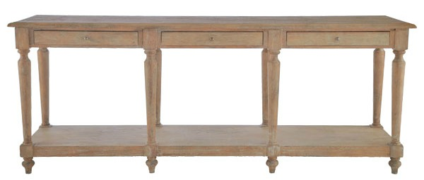 long wooden european console table from Wisteria
