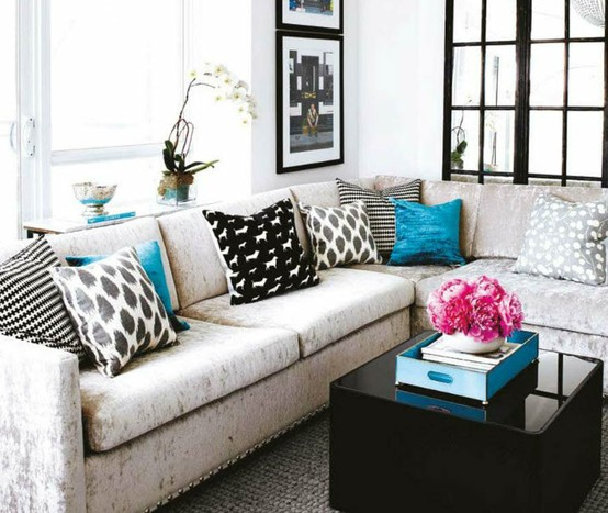 sectional with throw pillows by stacey cohen interiors - Couch With Throw Pillows