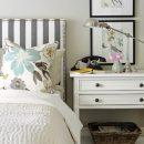 Striped upholstered headboard- Kerrisdale Design