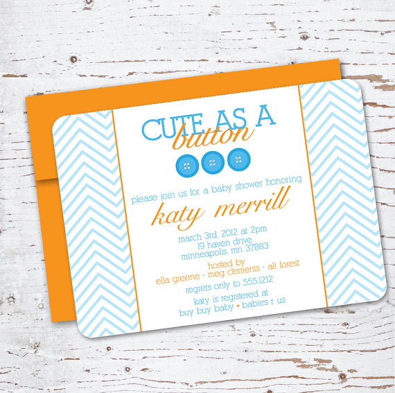 Cute as a Button Baby Shower Invitation - Swanky Press