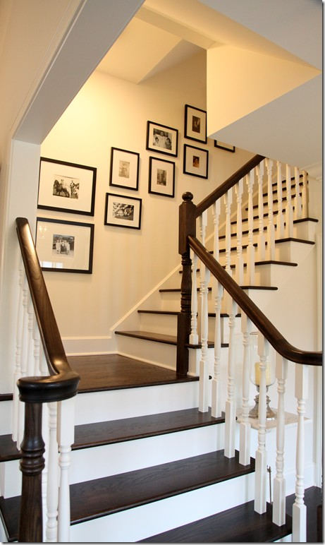Hardwood and white painted stairwell via Cote de Texas