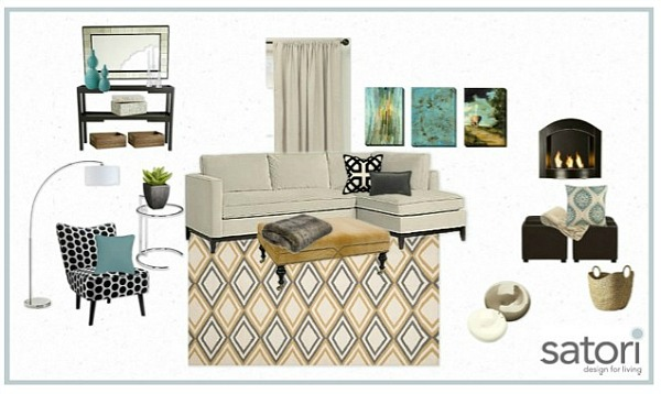 One Room, Two Looks- Bonus Room Mood Board with Turquoise Decor