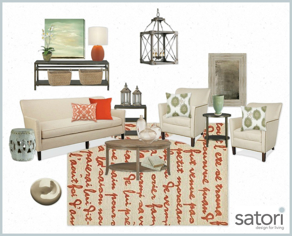 Neutral Sunroom with Pops of Green and Orange - Sunroom Moodboard - SatoriDesignforLiving.com