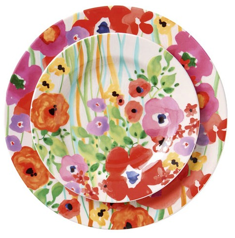 Floral Watercolor Plates via House to Home