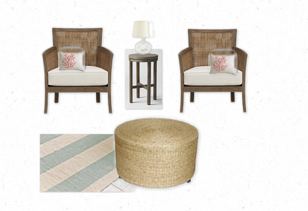 Beach House Sunroom Mood Board   Woven Chairs, Seagrass Ottoman