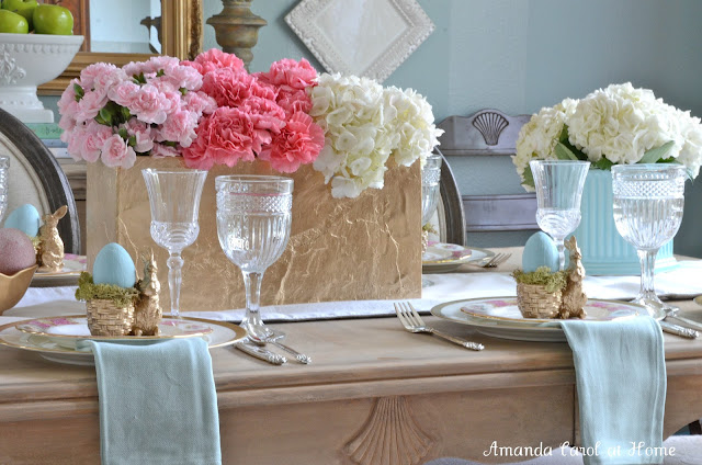 Pink and Blue Easter Tablescape | Amanda Carol Interiors