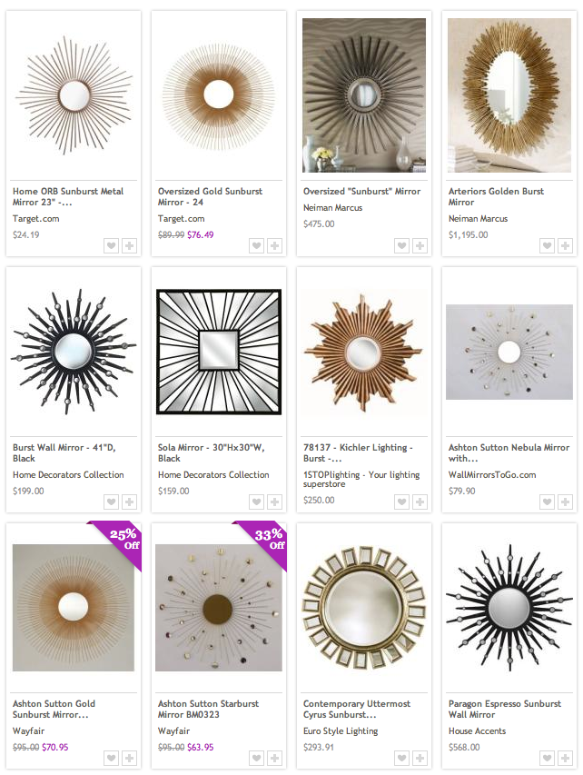 Shopping for Home Decor Deals / Starburst Mirrors on Beso