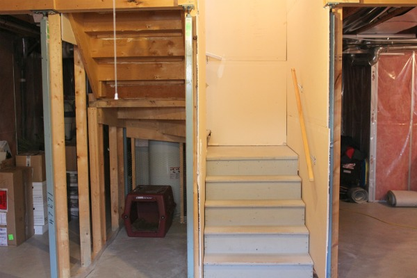 Basement Renovation- Using the area under stairs for a snack bar.