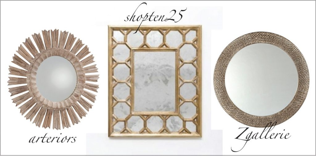 Decorative Mirror Options for the Designer Challenge Series hosted by Satori Design for Living