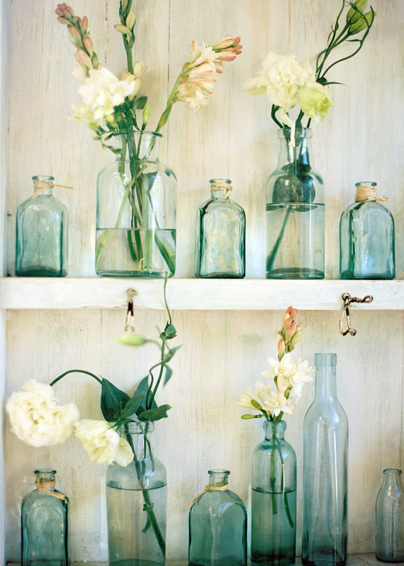 Green Glass Bottle Collection with Blooms