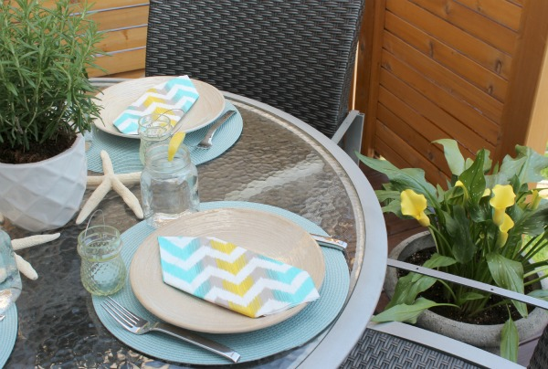 Turquoise and Yellow Summer Table Setting