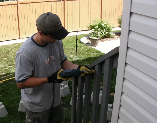Orange stained fence- the before!