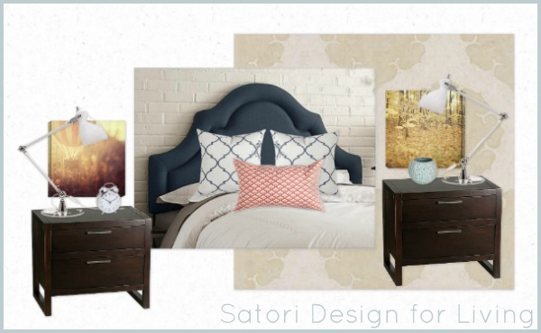White, Blue and Coral Bedroom Design