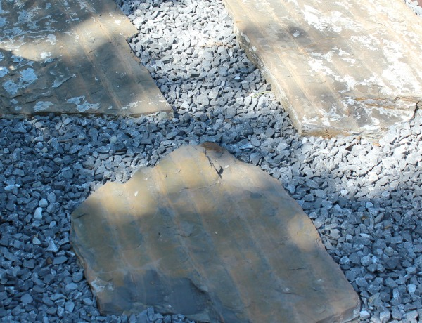 Landscaping - Irregular Slate Stepping Stones from the Deck to the Patio