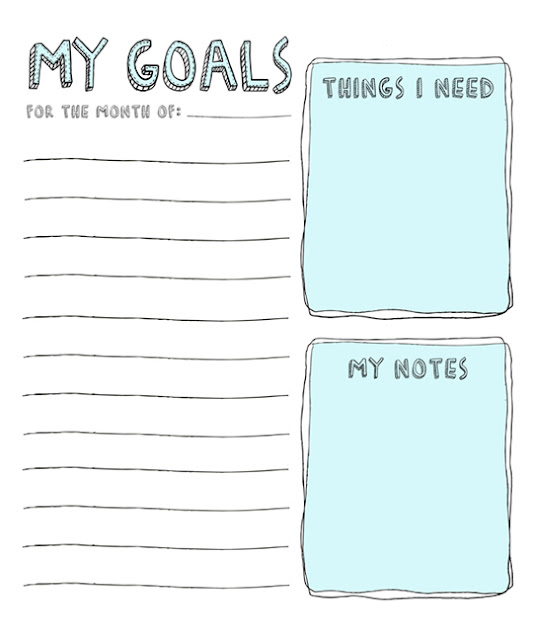 Printable Monthly Goal List by Julie Ann Art