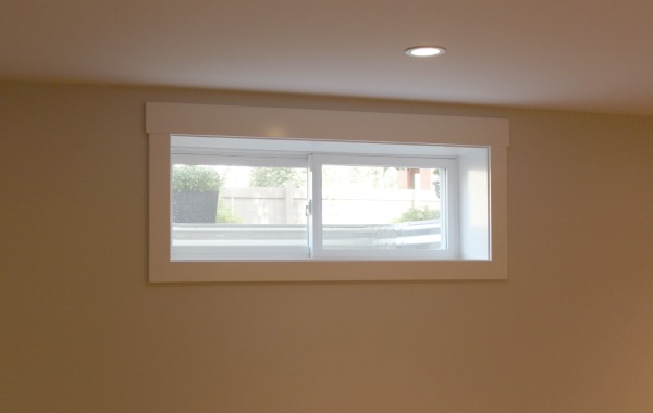 Finishing the Basement -Window with Shaker Style Trim