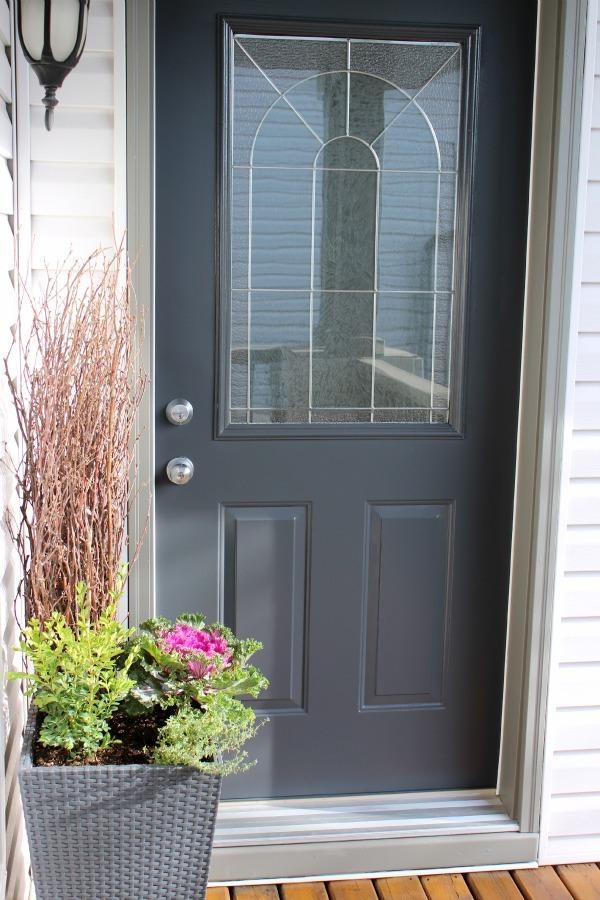 Front Door Paint Color- Benjamin Moore Wrought Iron 2121-10