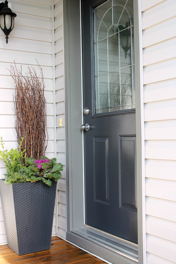 Front Door Paint Color- Benjamin Moore's Wrought Iron - Blue-black Door