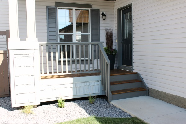 Grey Front Porch Makeover - Staining the Front Porch in Behr's Pewter