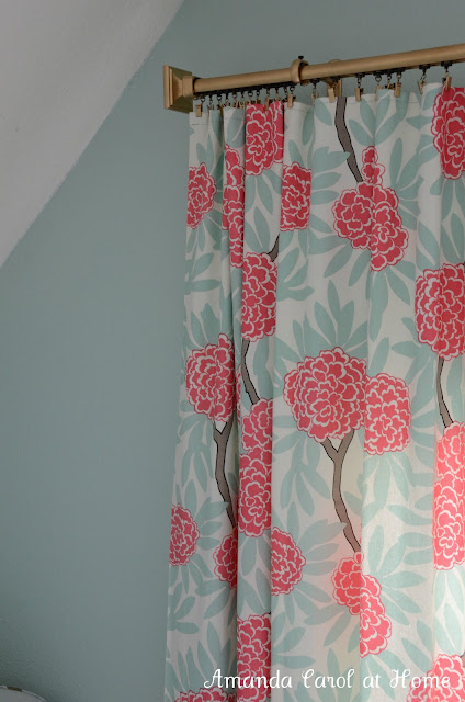 DIY Gold Drapery Rod with Pink Floral Curtains - Amanda Carol Interiors