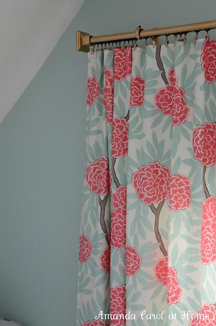 DIY Gold Drapery Rod with Pink Floral Curtains - Amanda Carol Interiors